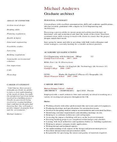 resume sle for fresh architecture graduate 8 sle architect resumes sle templates