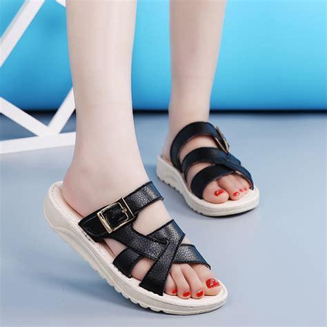 Wedges Brukat On29 45 bandage buckle slip on wedge sandals soft leather slip on slipper sandals us 29 92