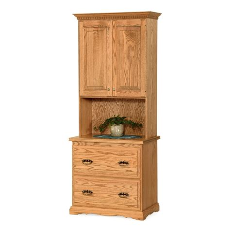 File Cabinet Hutch traditional file cabinet hutch solid hardwood amish made traditional file cabinet hutch