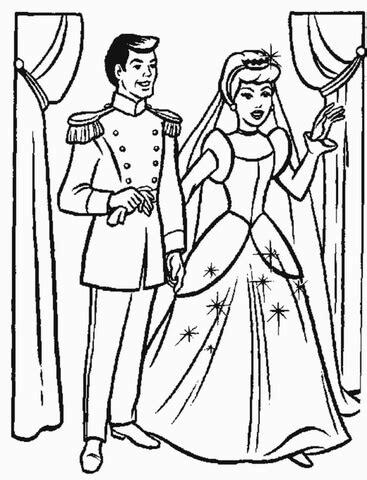 printable version of cinderella cinderella s wedding party coloring page free printable