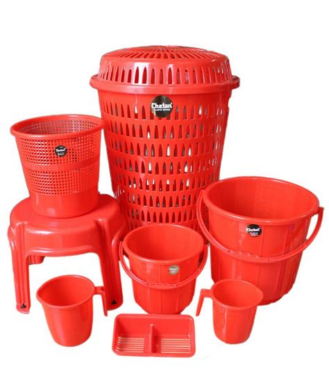 plastic bathroom set chetan 8 pc red colour plastic bathroom set buy chetan