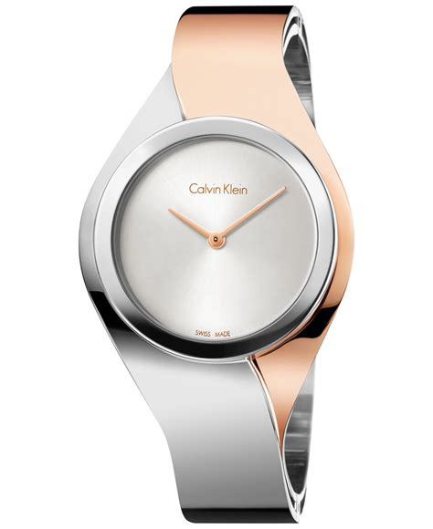 Calvin klein Women's Swiss Senses Two tone Stainless Steel Bangle Bracelet Watch 27mm K5n2s1z6