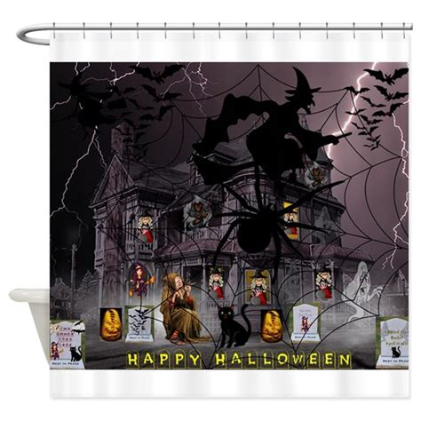 haunted house curtains spidery witches haunted house shower curtain by thetenthchakra