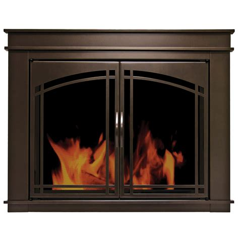How To Use A Fireplace With Glass Doors by Shop Pleasant Hearth Fenwick Rubbed Bronze Small