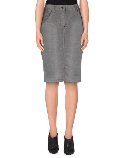 richmond denim knee length skirt in gray grey lyst