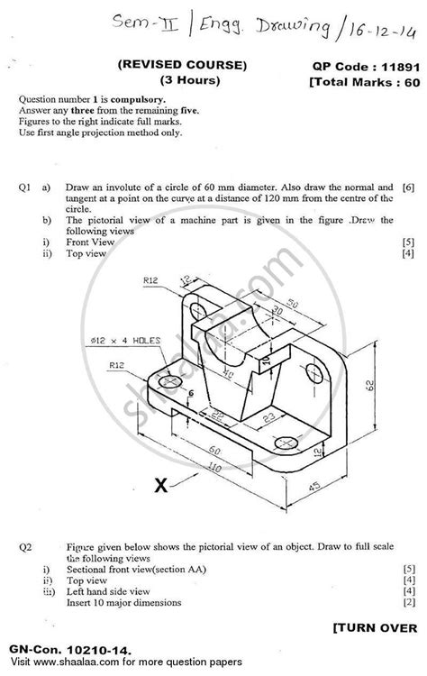 engineering drawing    biomedical engineering semester  fe  year cbgs question