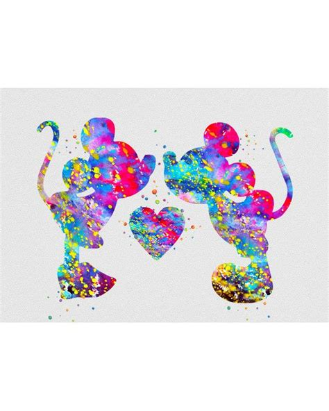 Mickey And Minnie Mouse Home Decor Mickey Amp Minnie Mouse Wasserfarben Kunst Minnie Mouse