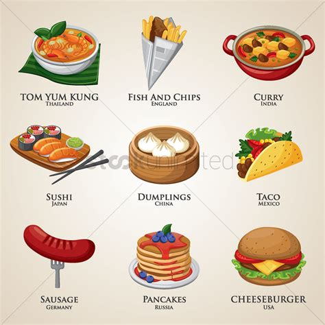 foods from around the world a collection of food around the world vector image 1828419 stockunlimited