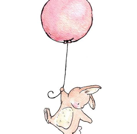 Bunny Home Decor by Children Art Print Bunny Balloon Print 8x10 By Loxlyhollow