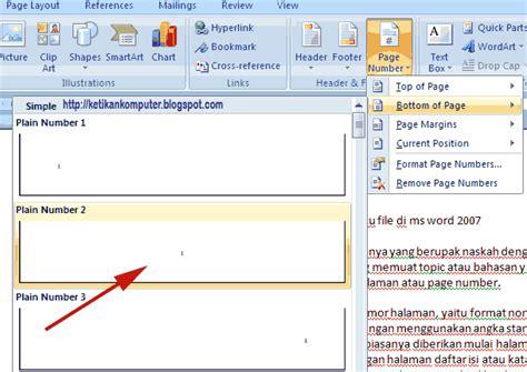 cara membuat penomoran halaman pada word 2007 cara membuat nomor halaman dengan format berbeda dalam