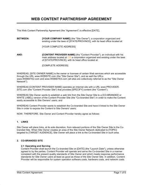 web content partnership agreement template sample form biztreecom