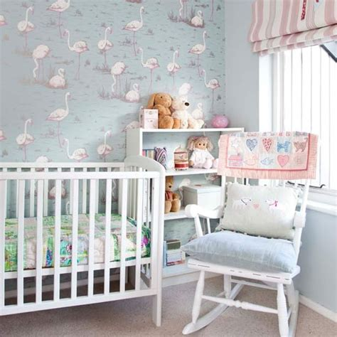 Nursery Decor Uk Nursery With Soft Pastel Flamingo Wallpaper Bedroom