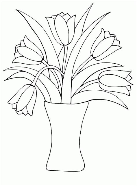 Flowers In Vase Coloring Pages by Vase And Flowers Coloring Page Coloring Home