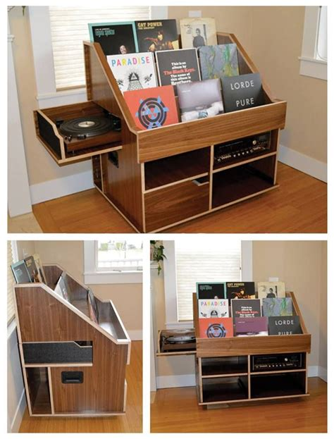 handmade record player and vinyl collection display