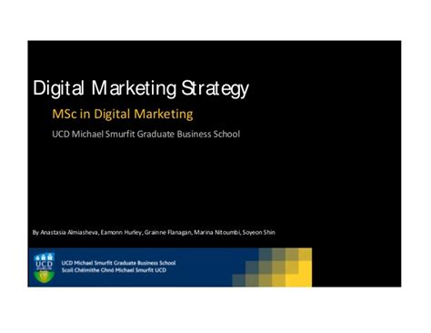 Ucd Mba Class Size by Digital Marketing Strategy For An Msc At Ucd Michael