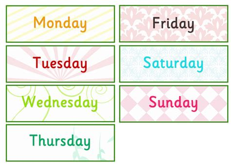 imagenes english day days of the week labels free early years primary