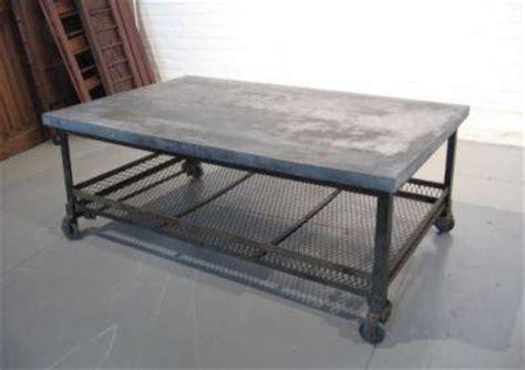 oversized galvanized merchantile metal coffee table silver