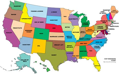 here are the most googled services by cost for each state in america map