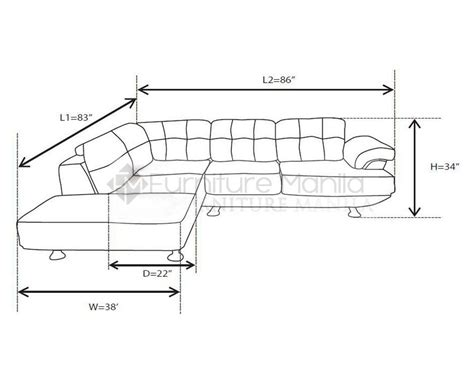 l sofa dimensions standard size sofa home design
