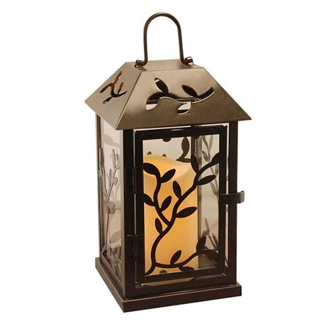 5 3 in x 9 in black vine metal lantern with led candle
