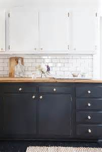 Black Kitchen Base Cabinets Manhattan Nest S Country Chic Kitchen Two Tones Grey