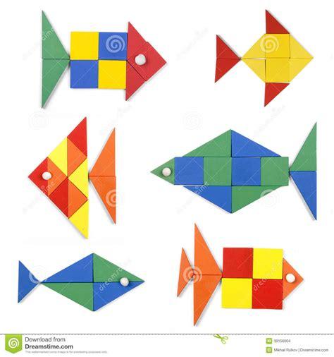 formas geometricas con imagenes los pescados fijados de figuras geom 233 tricas stock de