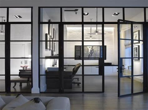 Glass door wall iron black metal design interior office area ideas