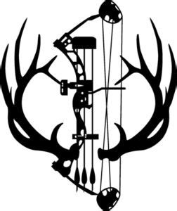 Large 7 Point Elk Rack Antlers Decal With Compund Bow