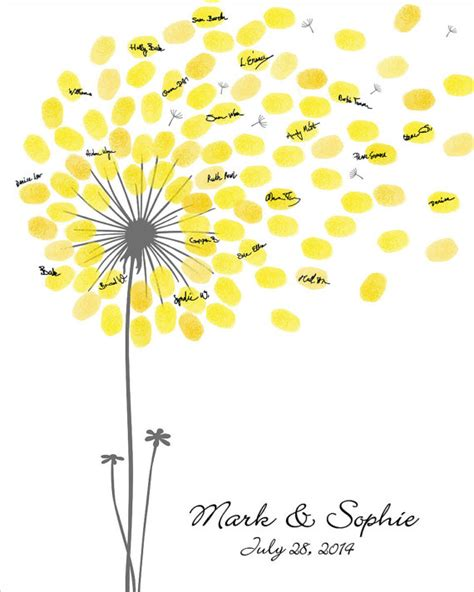 Wedding Guest Book, Dandelion Fingerprint Anniversary