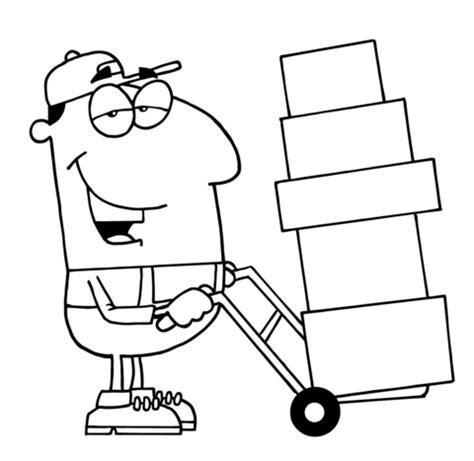 moving van coloring page dibujo de transportista con cajas para colorear dibujos
