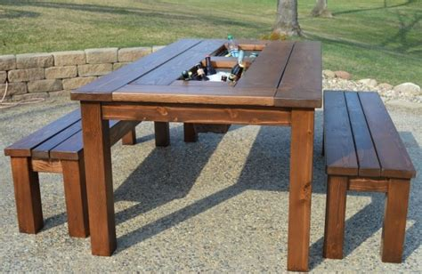 make your own patio table with built in ice boxes homes