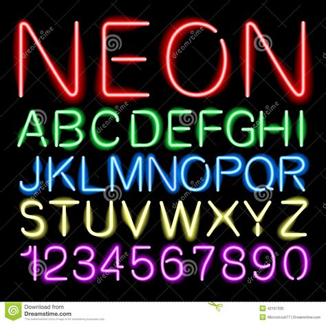 Neon Lights Font by Font Neon Light Stock Vector Image 42167330