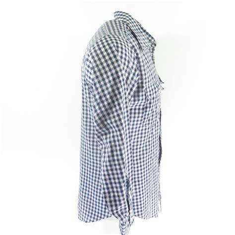 M Plaid Shirt vintage 70s levis shirt mens m plaid blue usa made white