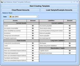 excel balance sheet template software 7 0 full screenshot