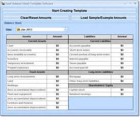 Balance Sheet Template Excel by Excel Balance Sheet Template Software 7 0 Screenshot