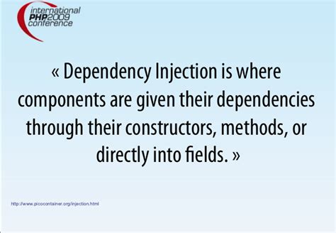 dependency injection using setter method dependency injection with php and php 5 3