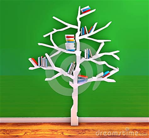 tree of knowledge bookshelf stock illustration image