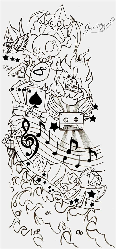 music half sleeve tattoo designs notes and sleeve design