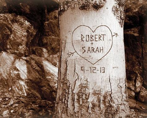 Personalized Tree Carving Print   Romantic Couples Gift