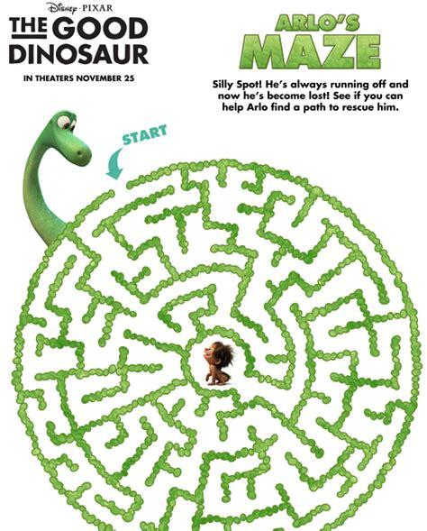printable owl maze disney pixar s the good dinosaur trailer and printable