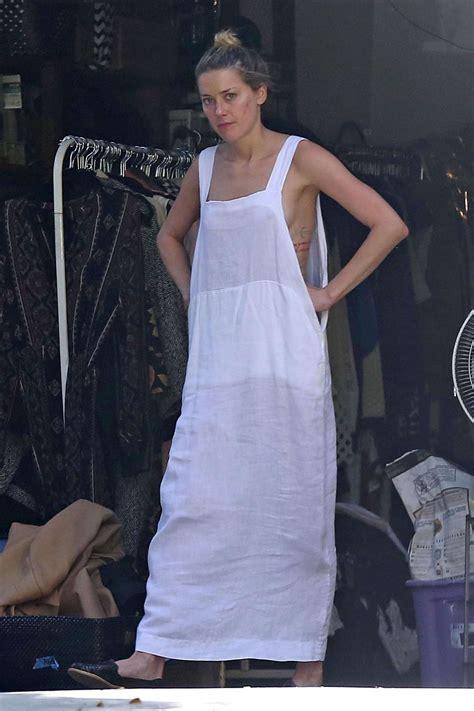 amber heard  white long dress  gotceleb