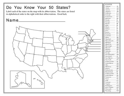 printable map test of the united states 50 states worksheet geersc
