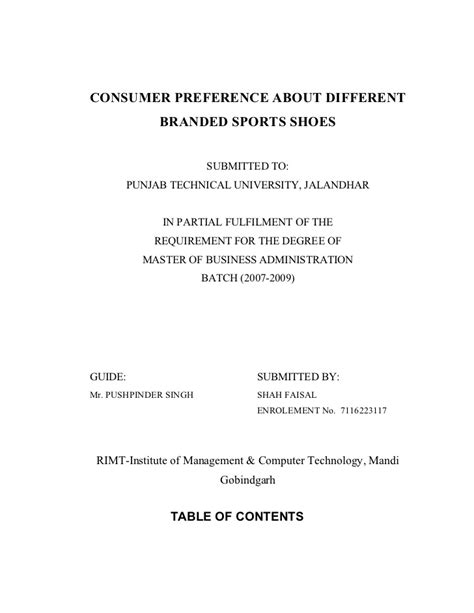 Consumer Preference Questionnaire In Mba Project by 14816327 Consumer Preference About Different Branded
