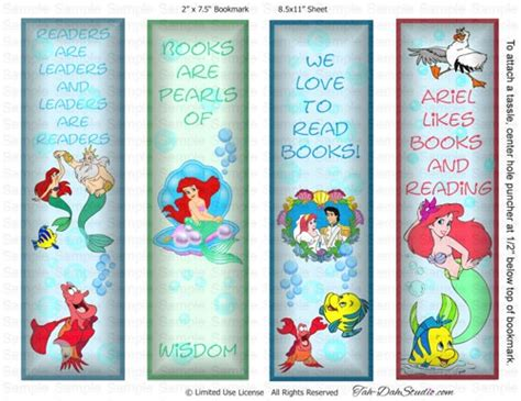 printable princess bookmarks ariel little mermaid disney triton bookmarks party favors