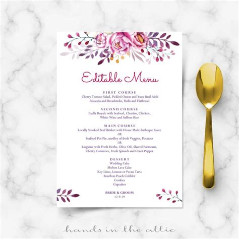 wedding breakfast menu template calligraphic wedding brunch menu template wedding menu