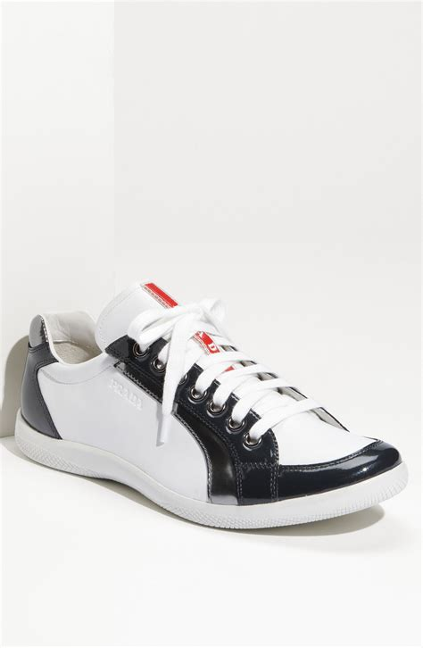 low profile sneakers prada low profile sneaker in white for white grey
