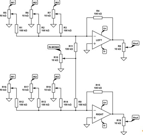 diode mixer schematic audio diy mixer use diodes to prevent input potentiometers influencing each other