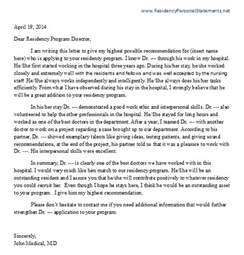 letter of recommendation for residency writing service