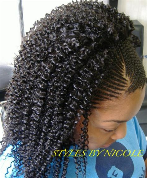 cornrows on side sew in in back small braids in front w sew in jerry curl in back in