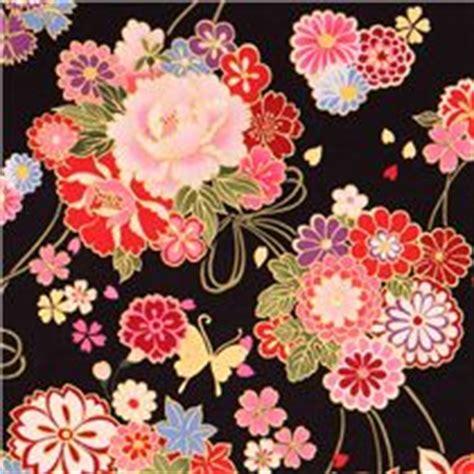 Kimono Transparant Hitam black asia flower bouquet fabric butterfly gold kokka